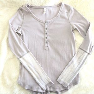 Free People Washed Cuff Henley Tee